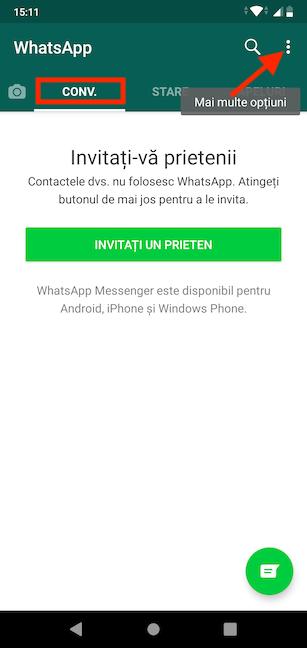 Accesează Mai multe opțiuni în WhatsApp pe Android