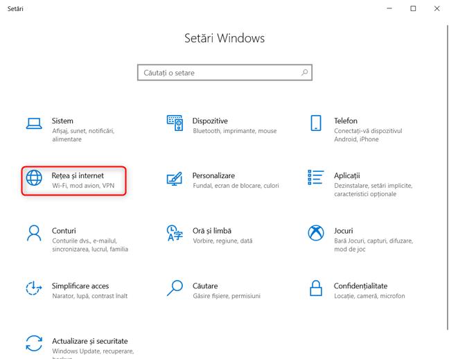 Setări Windows 10 - Mergi la Rețea și internet