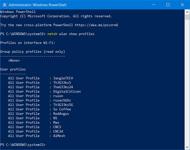 Vezi toate rețelele salvate de Windows 10, în PowerShell