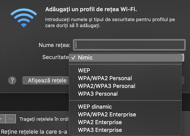 Alege tipul de Securitate pentru rețeaua pe care vrei s-o folosești