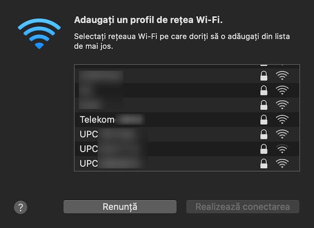 Selectează rețeaua dorită și apasă pe Realizează conectarea