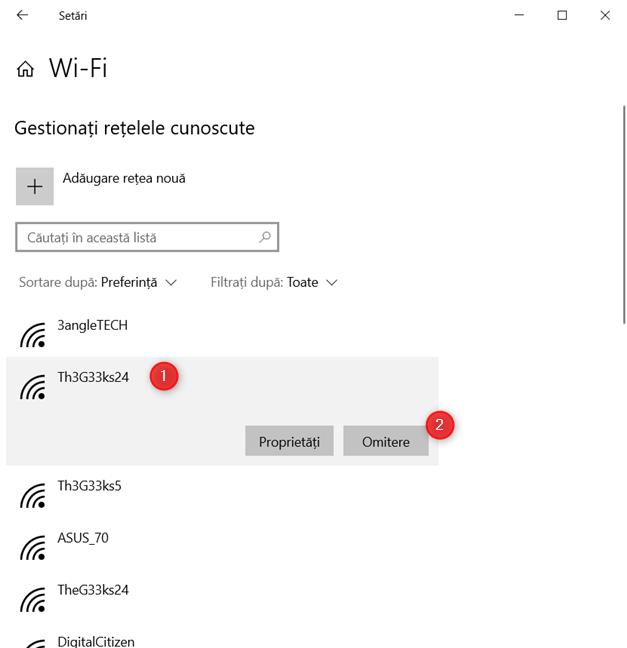 Șterge o rețea wireless în Windows 10