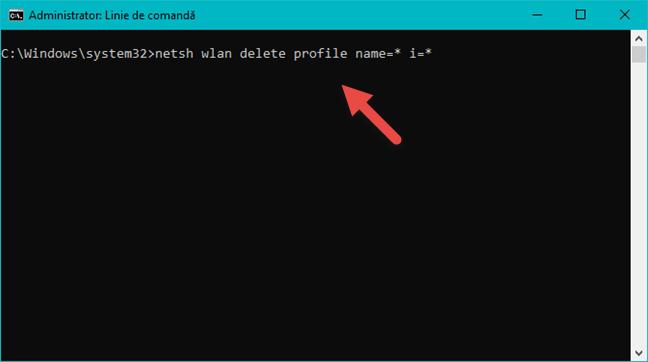 Șterge toate profilurile de rețea folosind Command Prompt