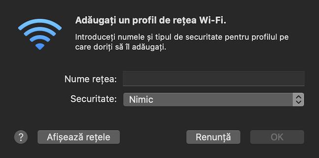 Completează casetele din fereastra Adăugați un profil de rețea Wi-Fi