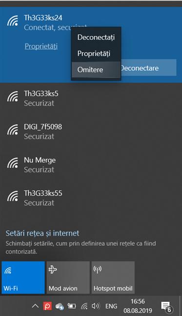Dă clic dreapta și șterge o rețea wireless din Windows 10