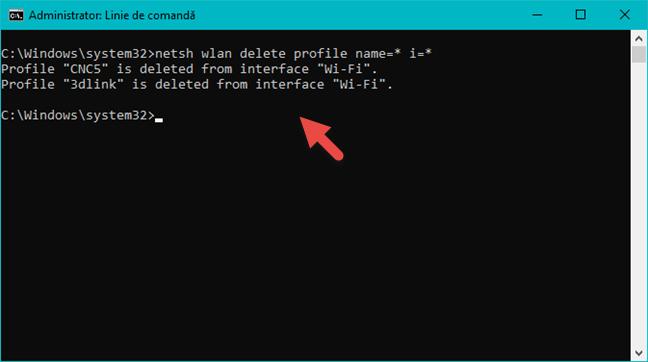 Toate profilurile de rețea sunt șterse din Linia de comandă