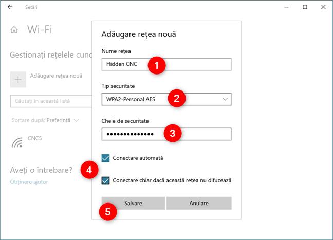 Introducerea detaliilor rețelei wireless ascunse, în Windows 10