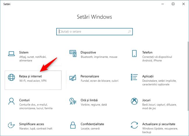 Setările Windows 10