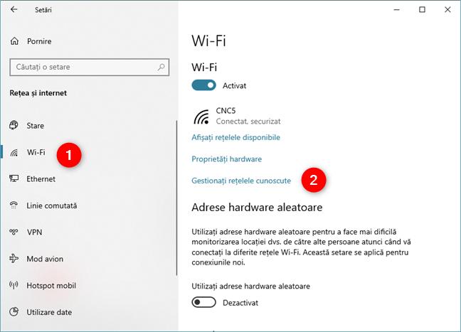 Gestionați rețelele cunoscute în Windows 10