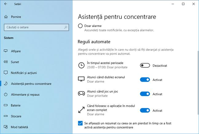 Asistență pentru concentrare în Windows 10 May 2019 Update