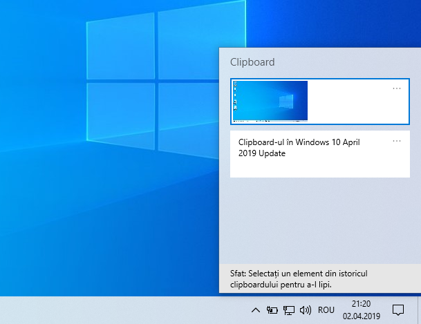 Clipboard-ul în Windows 10 May 2019 Update