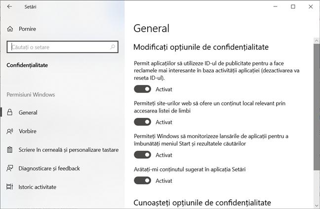 Setări de confidențialitate în Windows 10