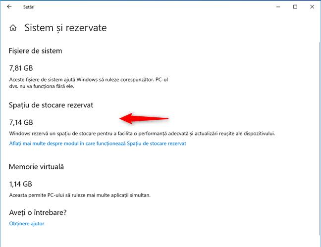 Spațiu de stocare rezervat în Windows 10