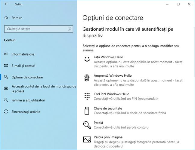 Windows Hello în Windows 10 May 2019 Update