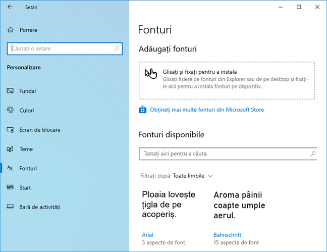 Fonturi în Windows 10 May 2019 Update