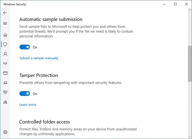 Protecție împotriva alterării în Windows 10 May 2019 Update