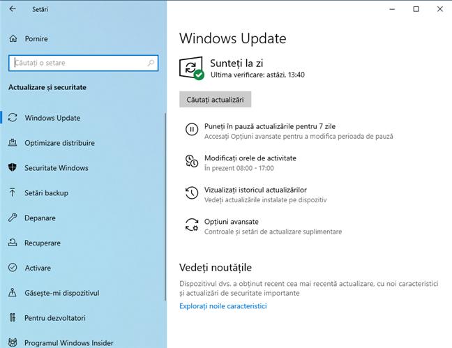 Setări Windows 10 Update