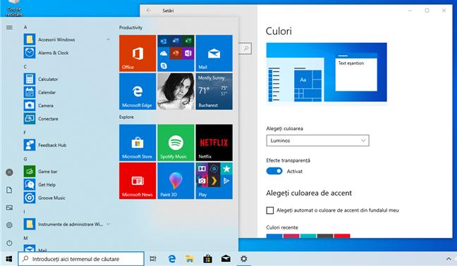 Tema luminoasă în Windows 10 May 2019 Update
