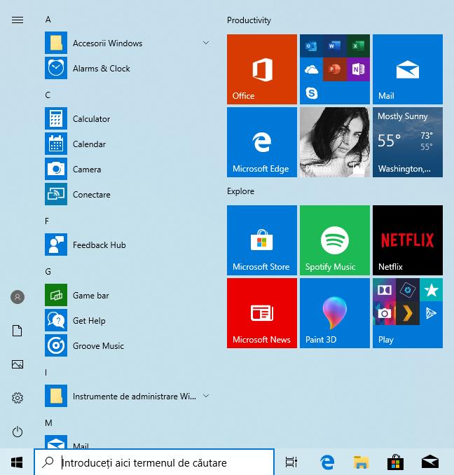 Meniul Start din Windows 10 May 2019 Update