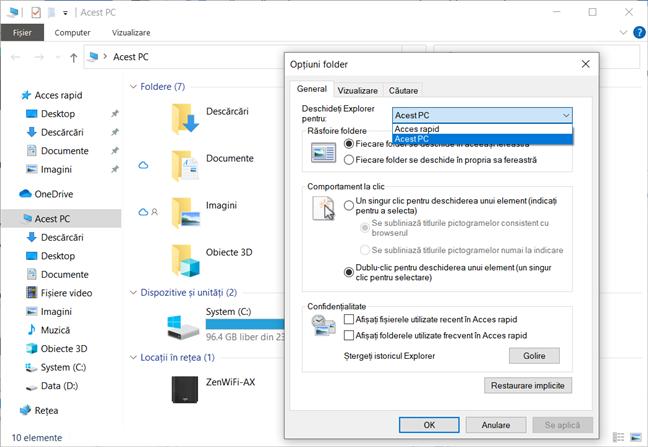 Explorer nu poate fi configurat să se deschidă în orice folder vrei tu