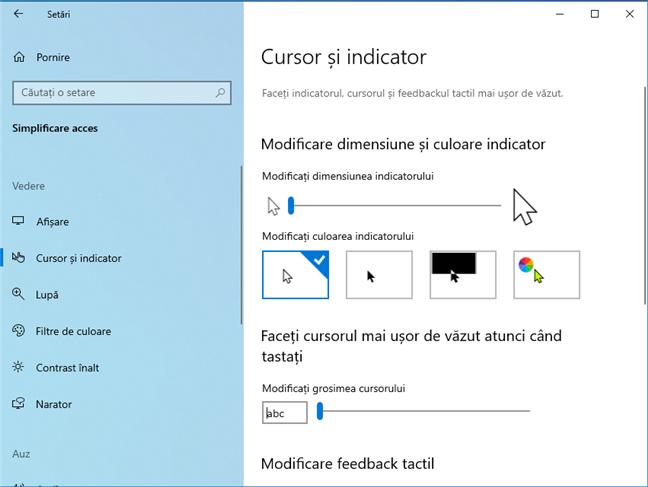 Setări pentru cursor și indicatori în Windows 10