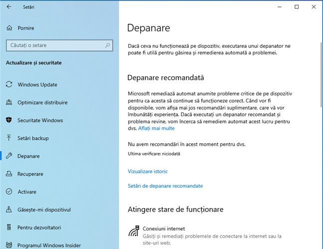 Depanarea în Windows 10 cu May 2019 Update