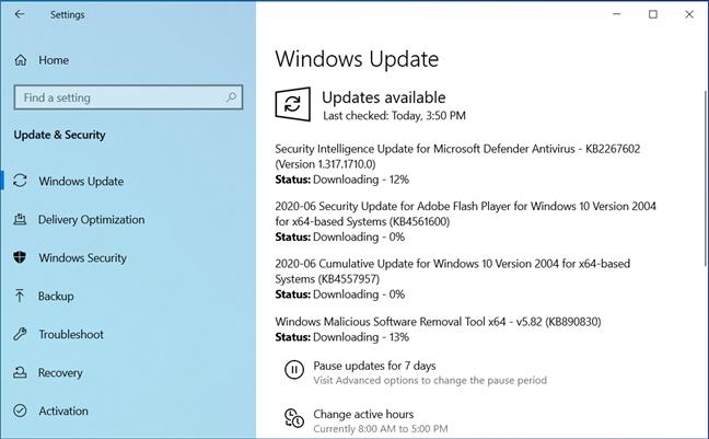 Actualizări pentru Windows 10