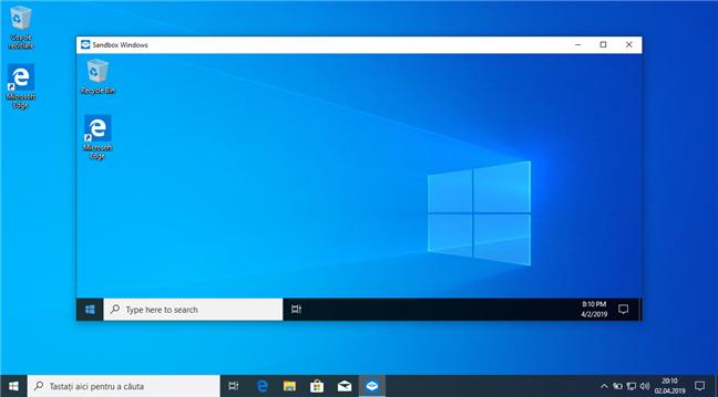 Windows Sandbox în Windows 10 May 2019 Update