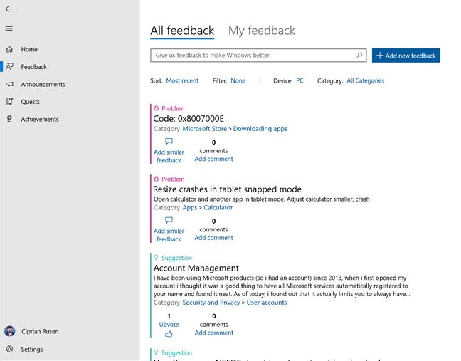 Bug-uri raportate de utilizatori în Centrul de Feedback