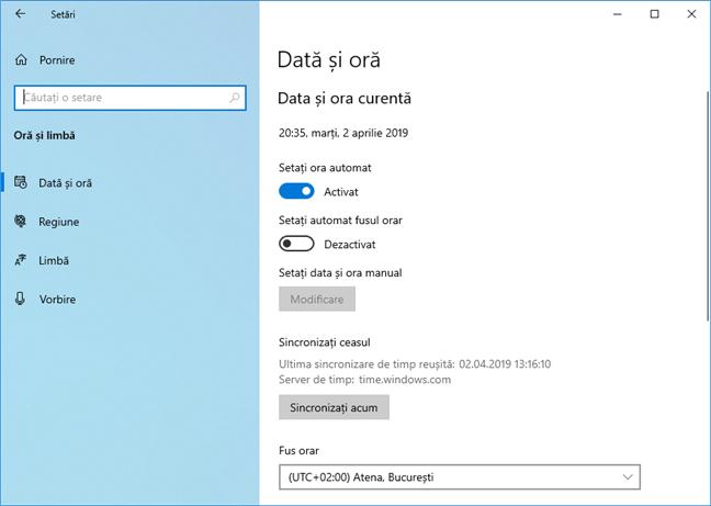 Sincronizare ceas în Windows 10 May 2019 Update