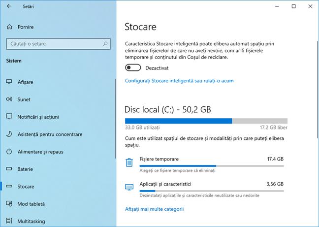 Setările de Stocare din Windows 10 May 2019 Update