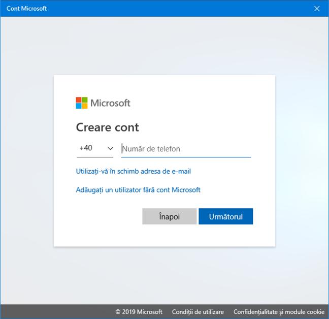 Crearea unui cont Microsoft doar cu un număr de telefon