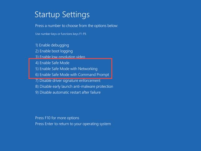 Safe Mode (Mod de siguranță) in Windows 10