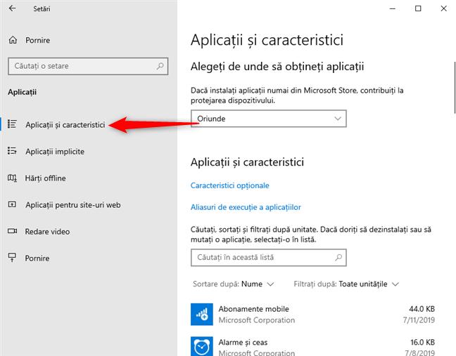 Setări Windows 10 - clic pe Aplicații și caracteristici