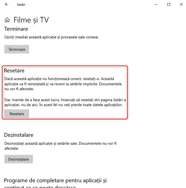 Secțiunea Resetare pentru o aplicație din Windows 10