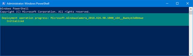 Folosirea comenzii Remove-AppxPackage în PowerShell