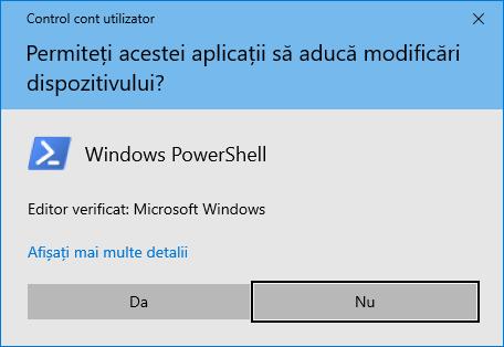Notificarea Control cont utilizator pentru rularea PowerShell în mod administrare