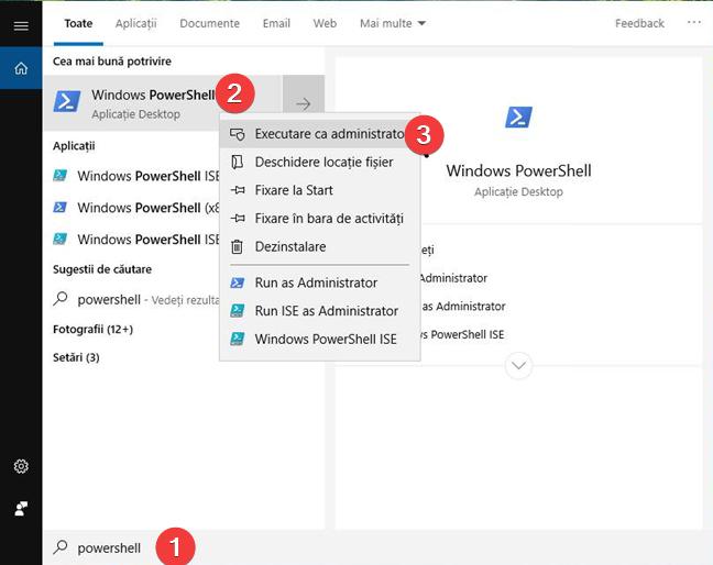 Căutarea și pornirea PowerShell în Windows 10