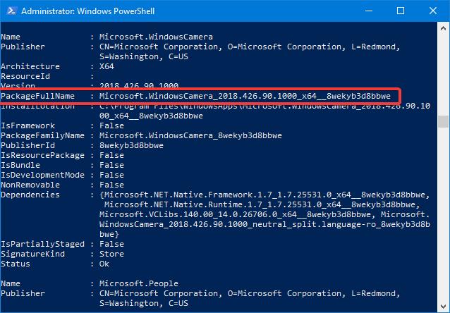 Numele complet de pachet pentru o aplicație Windows 10
