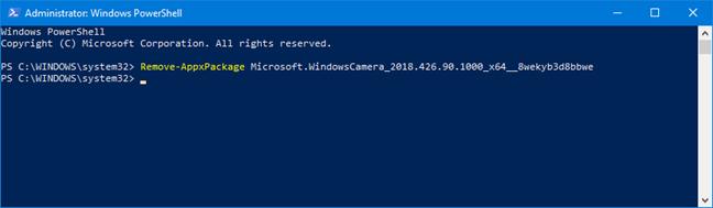 Dezinstalarea unei aplicații folosind Remove-AppxPackage în PowerShell