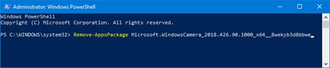 Comanda Remove-AppxPackage în PowerShell
