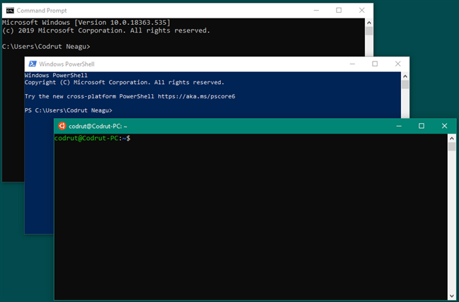 Command Prompt vs. PowerShell vs. Bash on Ubuntu on Windows