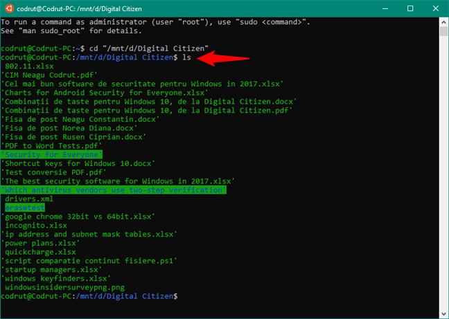 Utilizarea comenzii LS pentru a afișa conținutul unui folder