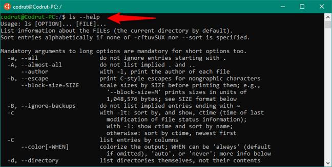 Obținerea de ajutor pentru o comandă în Bash on Ubuntu on Windows