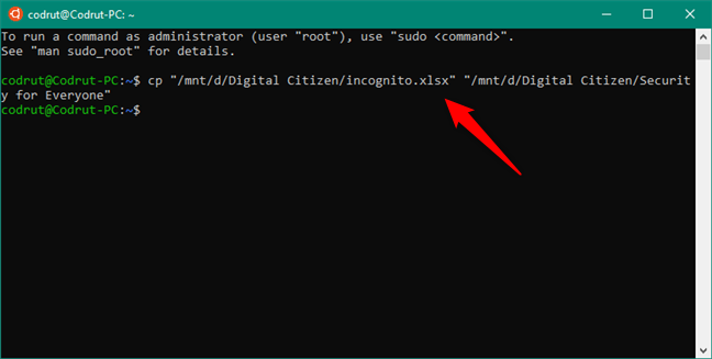 Utilizarea comenzii CP pentru a copia un fișier