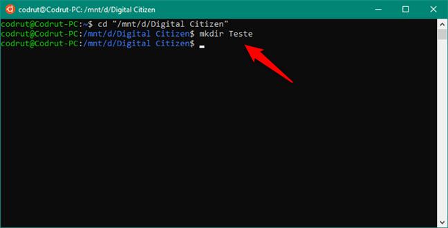 Utilizarea comenzii MKDIR pentru a crea un folder nou