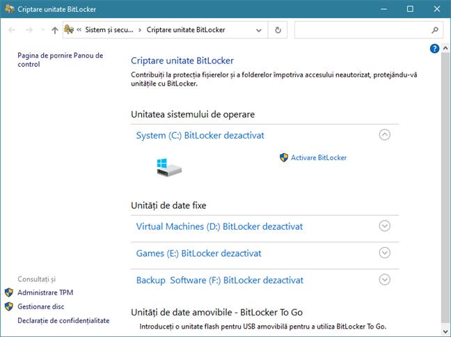 Fereastra Criptare unitate cu BitLocker din Panoul de control