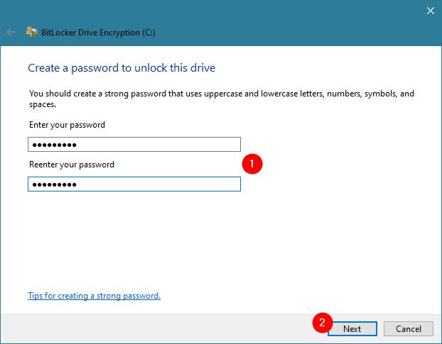 Crearea unei parole pentru BitLocker pe un PC fără cip TPM