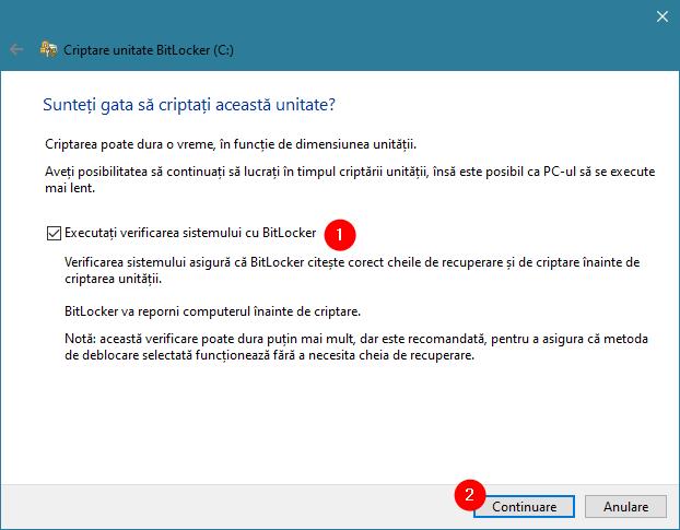 Opțiunea de a executa o verificare de sistem BitLocker