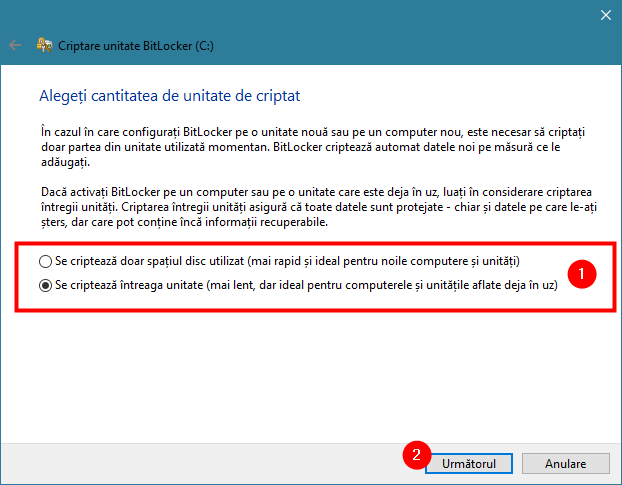 Opțiunile de criptare a unității cu BitLocker